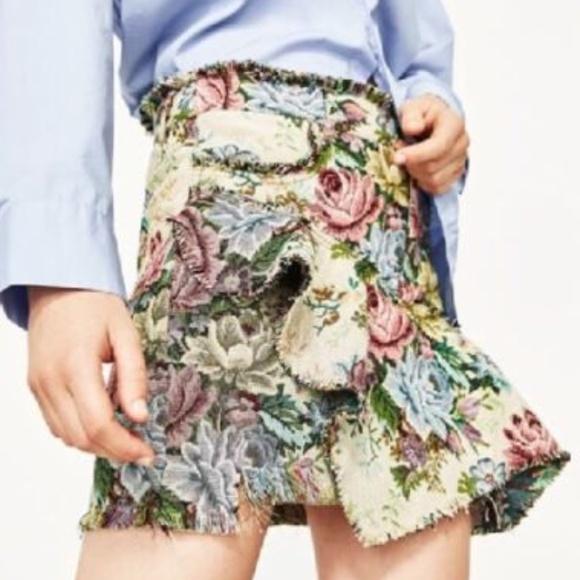 40c568e808 Zara Skirts | Floral Mini Skirt With Frill Peplum | Poshmark